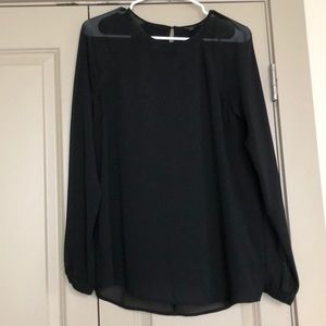 CKJ Black Sheer Sleeve Blouse